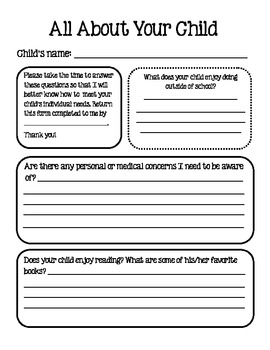 All About Your Child Parent Questionnaire
