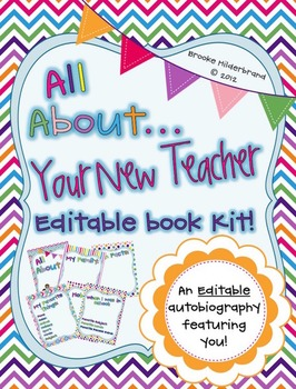Rainbow Chevron All About Your New Teacher! Editable Book Kit