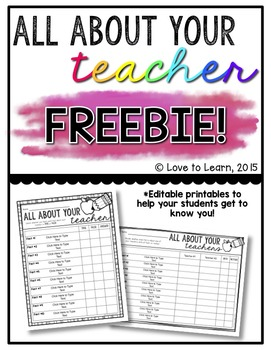 All About Your Teacher Editable Freebie