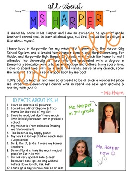 All About Your Teacher - Editable Template