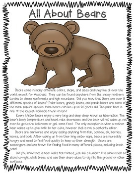 All About Zoo Animals-BEARS! (crafts, informative text, vocab, & much more)