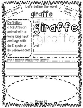 All About Zoo Animals-GIRAFFE (crafts, informative text, vocab. & much more)