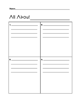 All About ___ Writing Template with Details