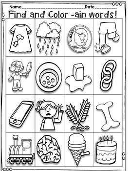 -ain Word Family Activity Pack - No Prep! Real Photos!