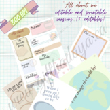 All About me Back to school activity editable or printable