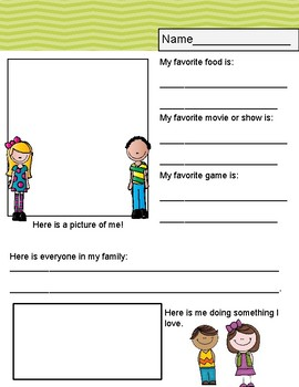 All About me Freebie!!First Day of School Activity.
