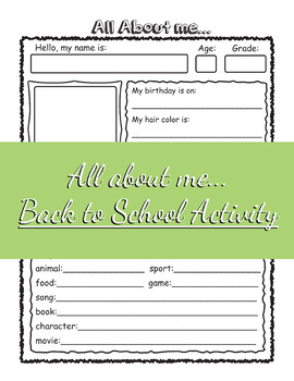 All About me... Student Introduction Back to School Activity Sheet
