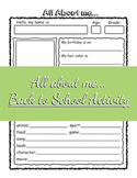 All About me... Student Introduction Back to School Activi