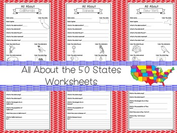 All About the 50 States Fill in the Answer Worksheets  2nd-5th Grade  Geography