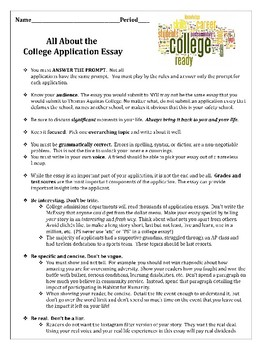 College Application Essay Introductory Packet