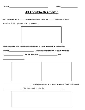 all about the continents fact template sheet and writing papers