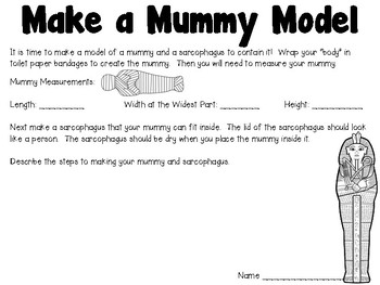 All About the Egyptian Mummy - Science Lab, Writing, and a Design Challenge