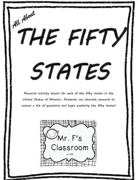 All About the Fifty States - 50 States Project Based Learning Worksheet
