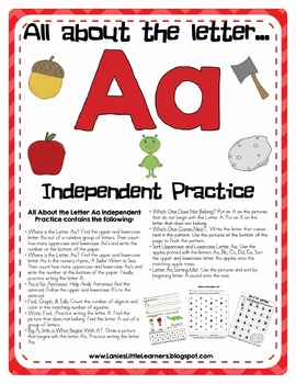 All About the Letter A Independent Practice - Letter of the Week