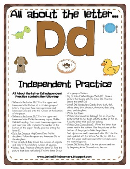 All About the Letter D Independent Practice - Letter of the Week