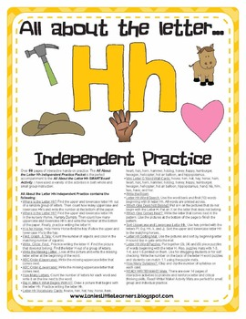 All About the Letter H Independent Practice - Letter of the Week