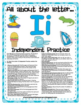 All About the Letter I Independent Practice - Letter of the Week