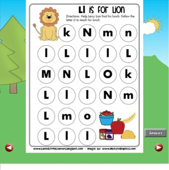 All About the Letter Ll {Letter of the Week SMARTboard Activities}