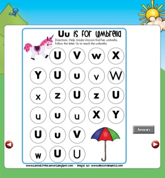 All About the Letter Uu {Letter of the Week SMARTboard Activities}