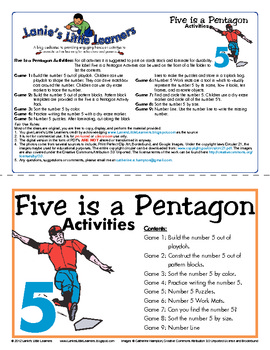 All About the Number 5 - Five is a Pentagon Activity Pack