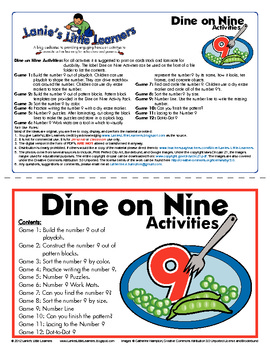 All About the Number 9 - Dine on Nine Activity Pack