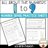All About the Numbers 1 through 9 {K number practice sheets}