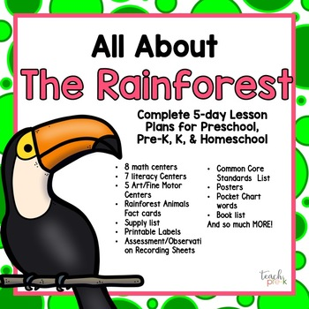 All About the Rainforest 5-Day Lesson Plan for Preschool, PreK, K & Homeschool