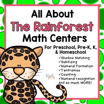 All About the Rainforest Math Centers fro Preschool, PreK, K, & Homeschool