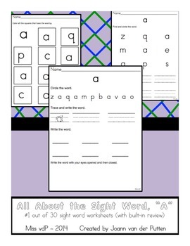 All About the Sight Word A