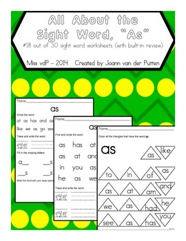All About the Sight Word AS