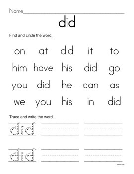 All About the Sight Word DID