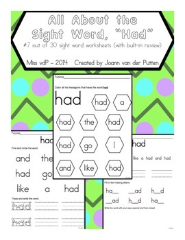 All About the Sight Word HAD