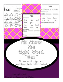 All About the Sight Word HAS