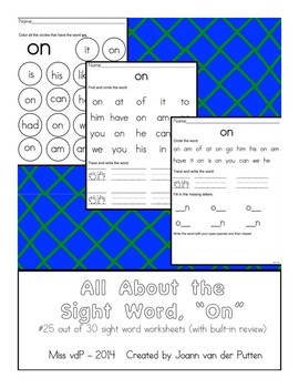 All About the Sight Word ON