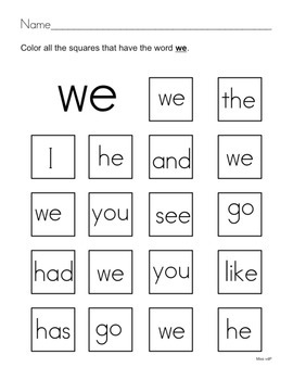 All About the Sight Word WE