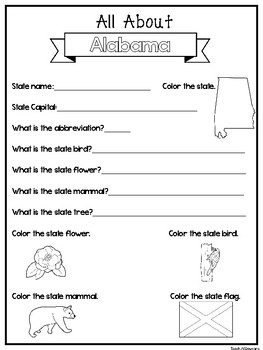 All About the State Alabama Worksheets. 2nd-5th Grade US ...