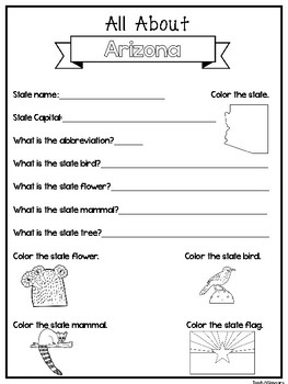 All About the State Arizona Worksheets. 2nd-5th Grade US Geography and  History.