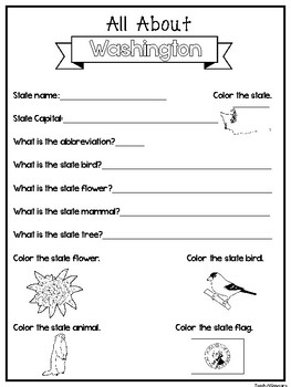 All About the State Washington Worksheets. 2nd-5th Grade US Geography,  History
