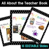EDITABLE Polka Dot All About the Teacher Book and Slideshow