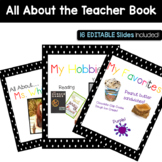 EDITABLE Polka Dot All About the Teacher Book and Slideshow
