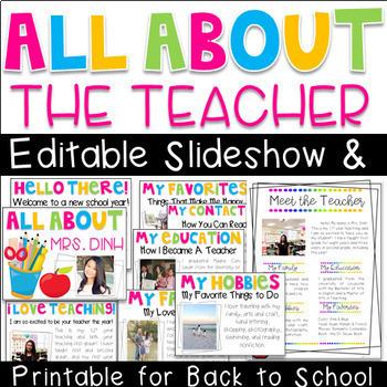 All About the Teacher Editable Slideshow & Printable