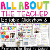 All About the Teacher Editable Slideshow & Printable