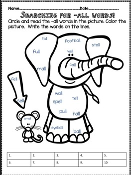 All About the Word Family -all - Word Work Activities! No Prep!