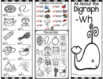 All About the digraph -wh Brochure -Pamphlet - Word Work! Easy to Fold