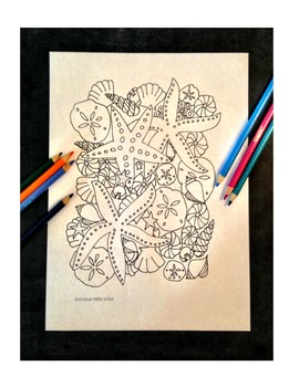 All Ages Beach Coloring Book Page Hand Drawn Illustration