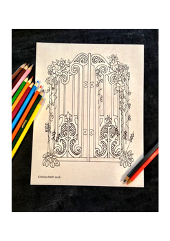 All Ages Coloring Book Page Secret Gate Hand Drawn Illustration Printable Page