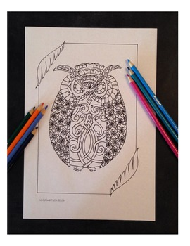All Ages Owl Coloring Book Page Hand Drawn Illustration Instant Printable