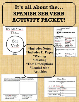 All About the Ser Verb Packet