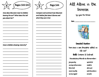 All Alone in the Universe Trifold - Journeys 6th Grade Unit 5 Wk 1 (2014, 2017)