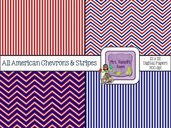 All American Chevrons & Stripes {4-12x12 Digital Papers for Commercial Use}